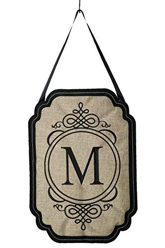 Evergreen Elegant Monogram M Burlap Door Decor