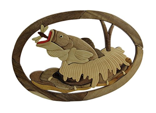 - Zeckos Wood Decorative Wall Plaques Hand Carved Intarsia Jumping Largemouth Bass Wood Art Wall Hanging 15.75 X 10.5 X 0.5 Inches Brown