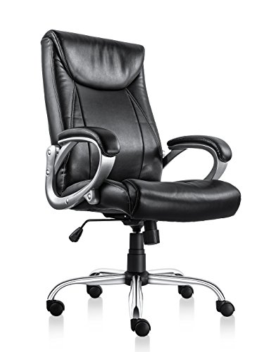 VOF Furniture Executive Office Chair with Thick Padding High Back Office Chair Ergonomic Headrest and Backrest with Armrest Home Office Chair with Tilt Function Black by VOF Furniture