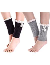 2 Pack of Womens Lace Stretch Boot Leg Cuffs Leg Warmers Socks Topper Cuff