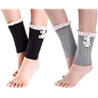 2 -Pack Justay Lace Stretch Boot Leg Cuffs Womens Warmers Socks