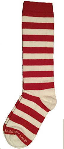 : Red & White Stripe Knee High Socks - Youth , Child - Raggedy Ann Rag Doll & Elf Candy Cane (Candy Girl Child Costume)