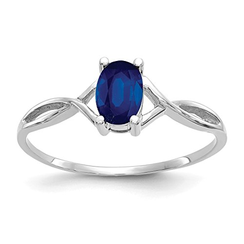 - 14k White Gold Sapphire Birthstone Band Ring Size 7.00 September Oval Style Fine Jewelry For Women Gift Set