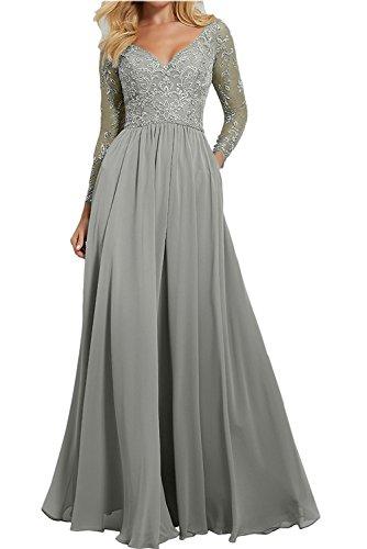 Partykleider Grau Damen Festlichkleider Charmant Abendkleider Ausschnitt Langarm mit V Spitze Lang Brautmutterkleider 0PqdPwCr