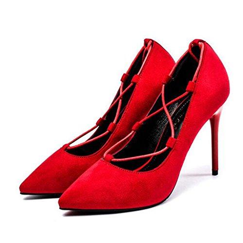 W&LM Sra Tacones altos Plataforma a prueba de agua De acuerdo Zapatos individuales Correa Propina Boca rasa Zapato Red