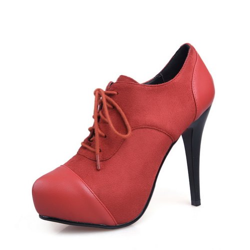 Women's Round Toe Platform Evening High Heels Club Party Shoes Red - 9