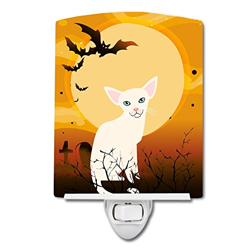 Caroline's Treasures Halloween Foreign White Cat Ceramic Night Light 6x4 Multicolor