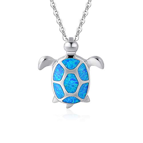 FANCIME 925 Sterling Silver Sea Turtle Pendant Necklace Blue White Created Opal Jewelry For Women Girls 16 2 Extender
