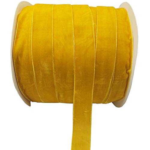 10 Yards Velvet Ribbon Spool Available in Many Colors (Yellow, 1