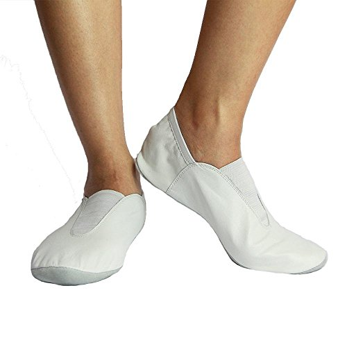 Danzcue Chaussures De Gymnastique En Cuir Adulte Blanc