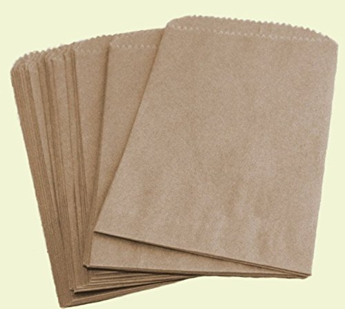 100 Pack Brown Kraft Arts Crafts & Sewing Crafting Paper Crafts Paper Cellophane Wrap Flat Merchandise Bags (5
