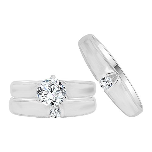 14k White Gold, Trio 3 Piece Wedding Ring Set Round Created CZ Crystals 1.0ct