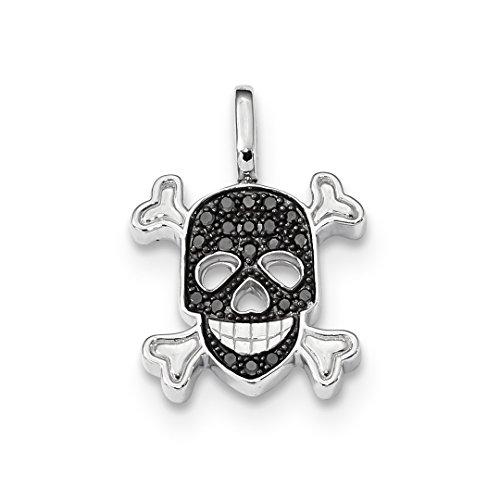 (925 Sterling Silver 0.2ct. Black Wht Diamond Reversible Skull Pendant Charm Necklace Dagger Dragon Fine Jewelry For Women Gift Set)
