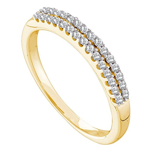 Jewels By Lux 14k Yellow Gold Womens Round Diamond 2-row Wedding Anniversary Bridal Band 1/5 Cttw = 0.21 (I1 clarity; H-I color) Ring Size 6 ()