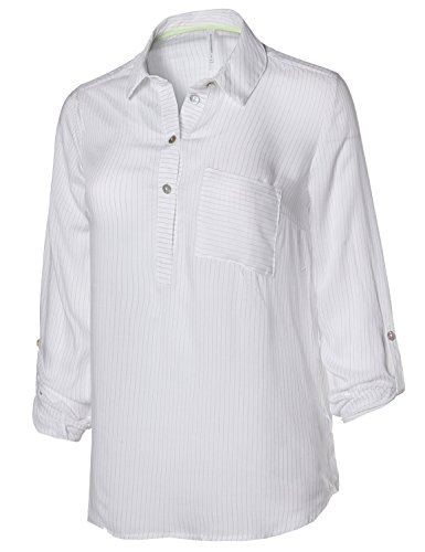 Awesome21 Lightweight Striped Henley Neck 3/4 Roll up Sleeves Blouse Top White Size (Best J.tomson White Blouses)