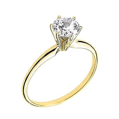 10k Yellow Gold Elegant Cubic Zirconia Solitaire Engagement Ring(Size 8) (Cubic Zirconia Gold Rings)