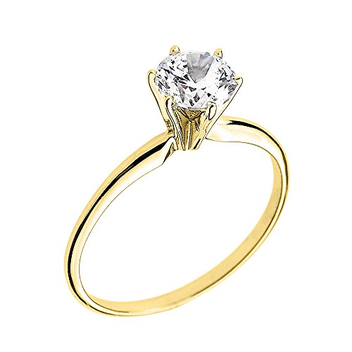 10k Yellow Gold Elegant Cubic Zirconia Solitaire Engagement Ring (Size 5.5) ()