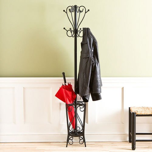 (This Bretton Steel Coat Rack Is an Ideal Home Storage Solution to Hang Coats, Scarves and Store an Umbrella. It Will Look Stylish in Your Entryway or Mudroom. The Rack Stands At 69 Inches and Making It Quickly Accessible, and the Four-legged Base Adds Stability. )