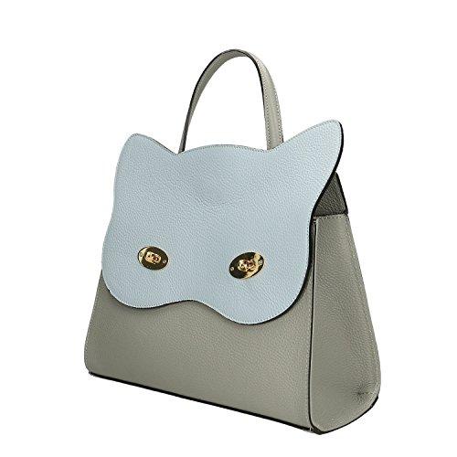 Chicca Mano Cm Borse In Borsa Italy Pelle Vera Made 32x28x13 Cielo Handbag A Grigio rIrfwndUq