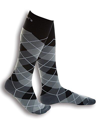 20-30 мм рт.ст. Правда окончил сжатия носки (медицинская) (MC-R, черный / серый Argyle)