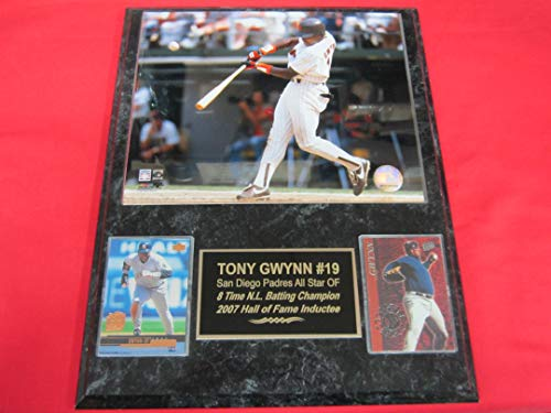 Padres Tony Gwynn 2 Card Collector Plaque #2 w/8x10 - Clubhouse Padres