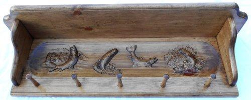 Decorative Shelf Coat Hanger Four Trout Scene (Sharp Clothes compare prices)