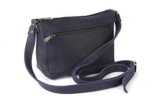 100% Crazy Horse Genuine Leather Vintage Navy Small Women Crossbody Bag Clutch Purse by Solid Leather Goods
