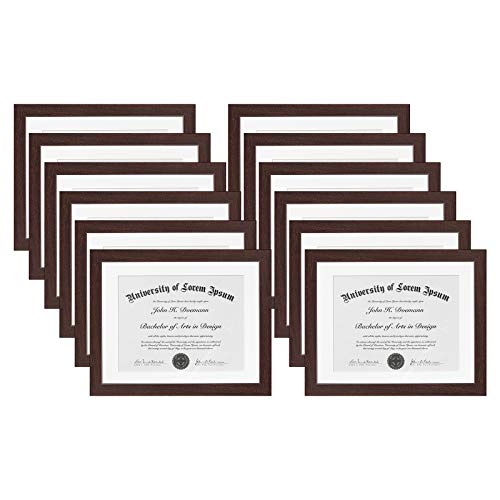 - Americanflat 12 Pack - Mahogany Document Frames - Display Documents Sized 8.5x11 Inches with Mat and 11x14 Inches Without Mat - Document Frames, Certification Frames, High School Diploma Frames