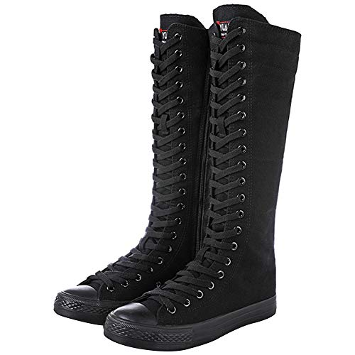 31da521fc743 Taille Grande Bottes Toile Wealsex Femme 42 Plat Lacets Genou Noir  Montantes Sneakers Baskets 40 43 ...