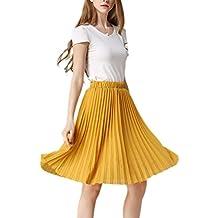 YACUN Women's Summer Chiffon Pleated Skirt A-line Midi Dancing Skirt