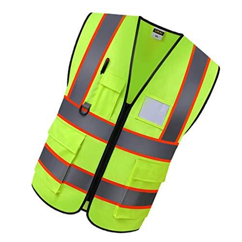 Amazon.es: FLAMEER Chaleco Reflectante Abrigo Trabajo Rreutilizable Protección Protectora Abrigo Bolso Cómodo - Amarillo