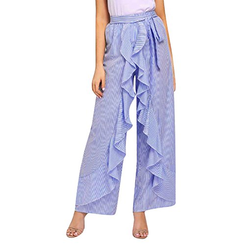 (Women High Waist Pants GoodLock Ladies Summer Striped Wide Leg High Waist Pants Casual Long Trousers (Blue, Medium))