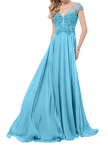 Linie Damen Formalkleider A Partykleider Kurzarm Charmant Blau Abendkleider Elegant Festlichkleider Lang Hwxq1