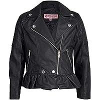 Urban Republic Toddler & Big Girls Faux Leather Motorcycle Moto Biker Jacket (10/12, Black w/Ruffle)