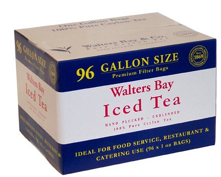 100% Pure Ceylon Gallon-sized Iced Tea Filter Packs - 96 Count Case by Walters Bay