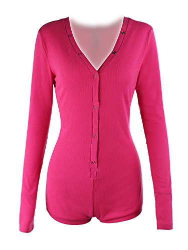 Moxeay V-neck One Piece Bodysuit Long Sleeve Bodycon Rompers Overall (X-Large, Rose)