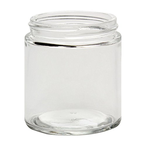 North Mountain Supply 4 Ounce Clear Glass Straight Sided 58mm Mason Canning Jars - with Lids - Case of 24 - White Metal Lids ()