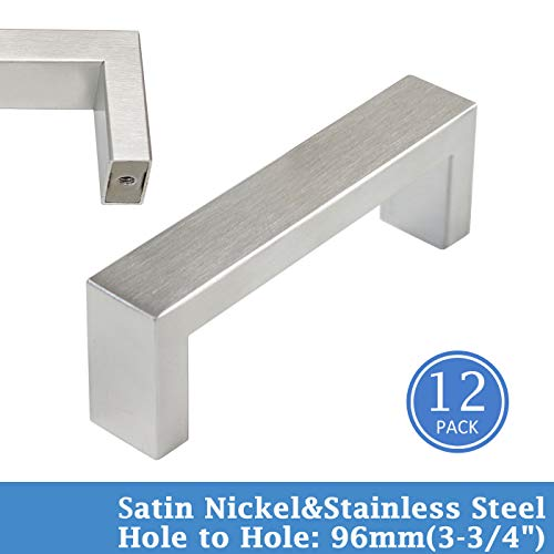 Knobonly Kitchen Cupboard Square Handles Stainless Steel Hollow Modern Cabinet Pulls 4/5 Wide 3-3/4inch Hole to Hole 12 Pack