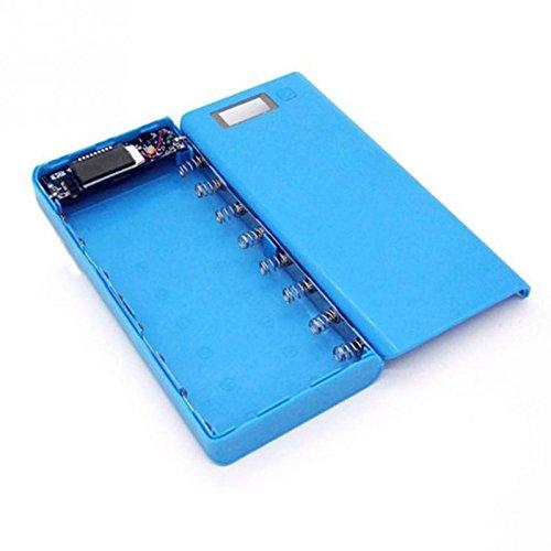 Cewaal Banco de la energía de bricolaje 18650mAh Puerto USB dual externa Cargador del banco de potencia Caja Con pantalla LCD para el teléfono blue