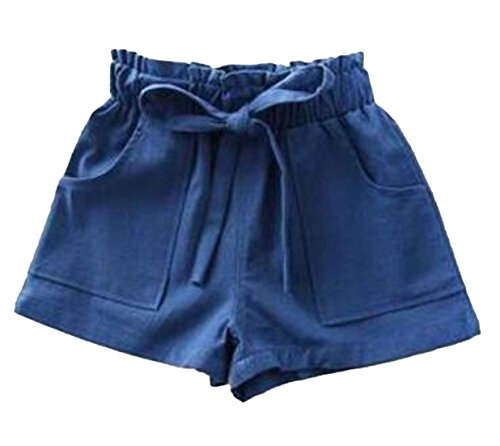 Cruiize Girl's Bow Tie Elastic Waist Baggy Summer Thin Linen Solid Shorts Royal Blue (Cord Bootcut Jean)