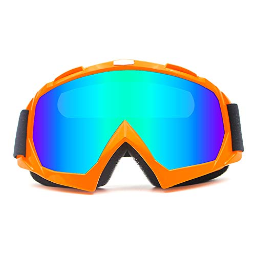 r Glasses Motorcycle Goggles Motorcross Safety Glasses Dirtbike Skiing Snowboard Dust-proof Protective Combat Goggles Outdoor Tactical Goggles Anti Fog Orange Blue-Mirror KG20 ()