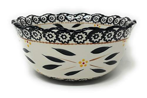Temp-tations 1.5 Qt Bowl w/Scalloped Edge, Mix, Bake, Serve, Stoneware (Old World Black) ()