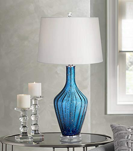- Elin Coastal Table Lamp Blue Fluted Art Glass Vase White Drum Shade for Living Room Family Bedroom Bedside - Possini Euro Design