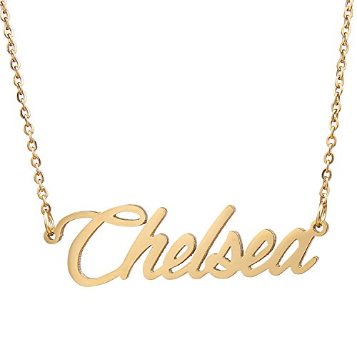 AOLO Gold Plated Tiny Drop Chelsea Name Necklace Gift for Her