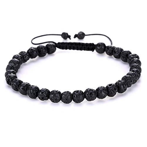 BRCbeads Gemstone Bracelets Lava Stone Waxed Birthstone Healing Power Crystal Beads Handmade 6mm Stretch Macrame Adjustable Loose Beads With Gift Box Unisex