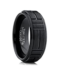 Metal Masters Co.® Tungsten Carbide Men's Black Textured Brushed Grooved Wedding Band Ring, Comfort Fit 8mm