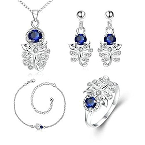 AMDXD Jewelry Gold Plated Women Jewelry Sets Scorpion Blue CZ Necklace Earrings Anklet Rings Size 8
