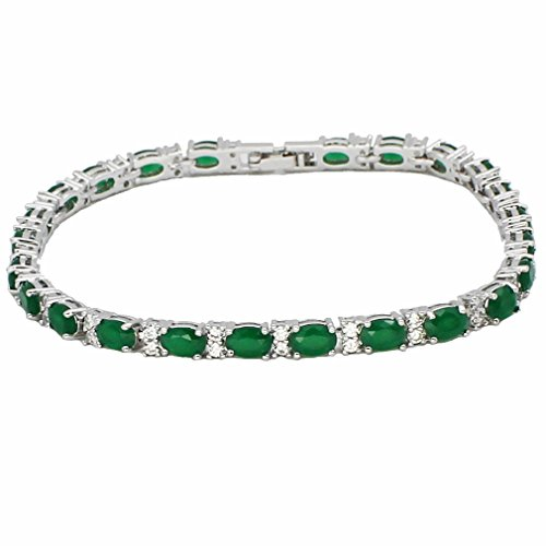 (Hermosa Tennis Bracelet Classic Fashion Jewelry Ruby Emerald Sapphire White Topaz Plated Silver Bracelets 8 inch (Emerald))