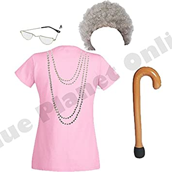 Ladies Womens Granny Old Woman Lady Fancy Dress Costume (Pink Top ... 1622a43e42