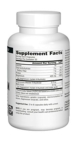 Source Naturals Magnesium Malate 625mg Supplement Supports Natural Muscle Function & Health, Energy Production & Healthy Skin - Essential, Bio-Available Magnesium Malic Acid Supplement - 200 Capsules